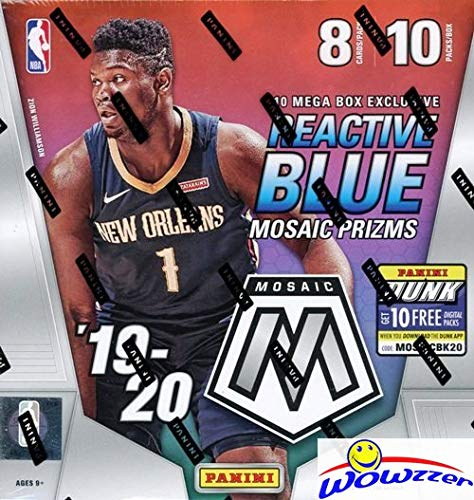 2019/20 Panini MOSAIC NBA Basketball MASSIVE 80 Card Factory Sealed MEGA Box with (10) EXCLUSIVE REACTIVE BLUE MOSAIC PRIZM! Look for Rookies & Autos of ZION WILLIAMSON, Ja Morant & More! WOWZZER!