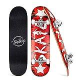 BELEEV Skateboard 79 x 20 cm, Monopatín Completo para Principiantes, Niña, Niño, Adolescentes y Adulto, 7 Láminas de Arce Canadiense, Doble Patada, Tabla Cóncava, Cruiser Skateboard (Red)