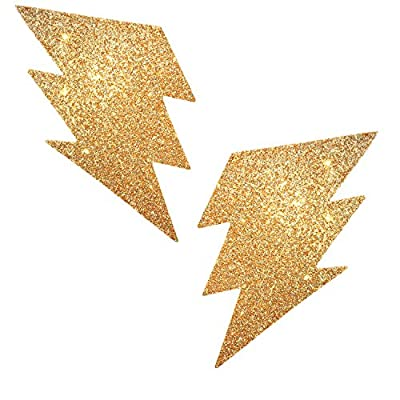Neva Nude Golden Fairy Dust Glitter Storm Surge Nipztix Pasties Nipple Covers for Festivals, Raves, Parties, Lingerie and More, Medical Grade Adhesive, Waterproof and Sweatproof, Made in USA
