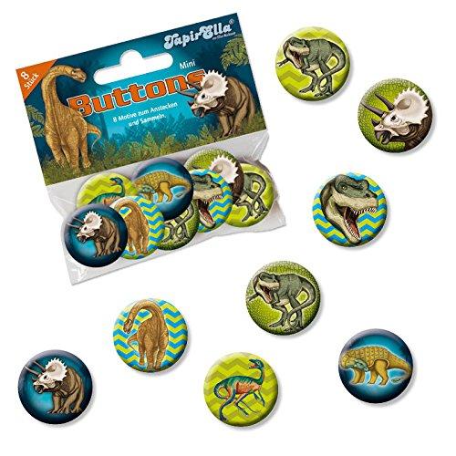 Mauder Verlag 8 Mini Button * Dinosaurier & T-REX * mit Anstecknadel vom Lutz 67246 // Kinder Geburtstag Mitgebsel Geschenk Party Buttons Set