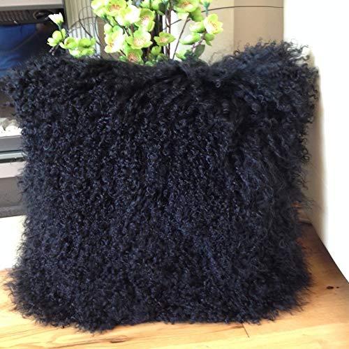 Seek4comfortable FBA2 Kissenbezug, tibetisches Schaffell, 50 cm, Weiß/Schwarz 18x18 inch schwarz