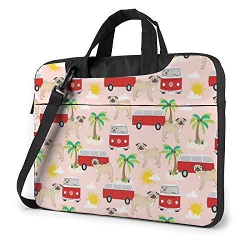 Pug Dog with Palm Tree Bus Computer Bag Durable Laptop Briefcase Shoulder Messenger Bag for Computer Notebook 13 inch