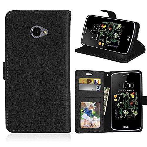 """YYhin Case per Cover LG K5(5.3"""") - Custodia Protettiva in Pelle Morbida di Alta qualità per Portafoglio con Custodia Chiusura Magnetica Slot per schede(DK01/nero)"""