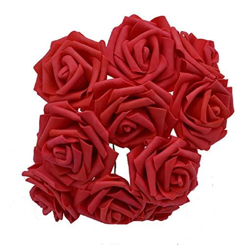 Yalulu 50 Stück 8CM Foamrosen Schaumrosen Blumenköpfe Schaumköpfe Künstliche Kunstblumen Rosen Rosenköpfe Brautstrauß Party Hause Deko (Rot)