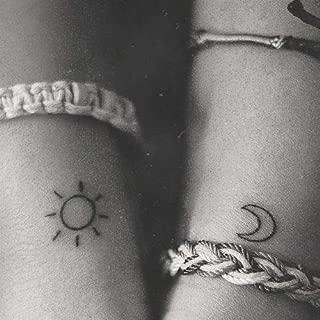 3pcs Water Transfer Tattoo Minimalist small sun moon tattoo Body Art Waterproof Temporary fake Tattoo for man woman kid 10.5 * 6cm