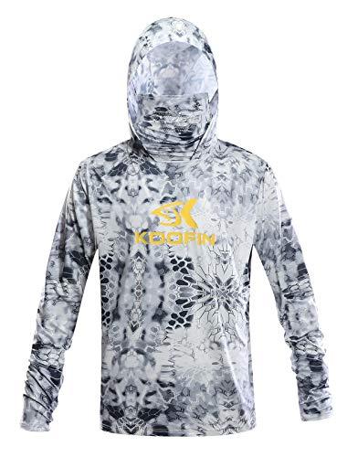 Performance Fishing Hoodie with Face Mask Hooded Sunblock Shirt Sun Shield Long Sleeve Shirt, Grey, X-Large