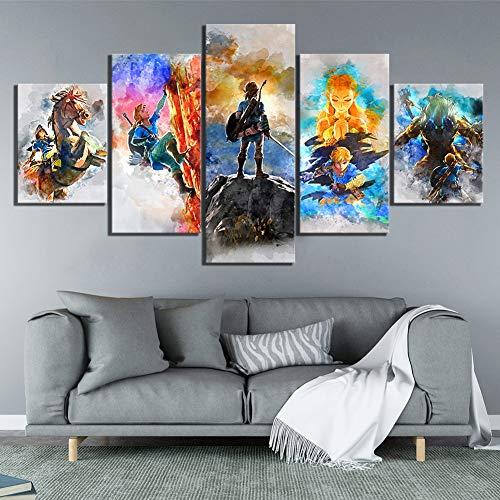 YRRBI Leinwandmalerei Home Decoration Druckgrafik Gemälde 5 Panel Die Legende von Zelda Bildspiel Wandkunst Modular Leinwand Poster Moderne Nacht Hintergrund