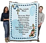 Hail Mary Prayer with Rosary Beads in Spanish - Ave Maria - Cotton Woven Blanket Throw - Made in The USA (72x54)