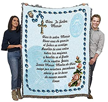 Hail Mary Prayer with Rosary Beads in Spanish - Ave Maria - Cotton Woven Blanket Throw - Made in The USA  72x54