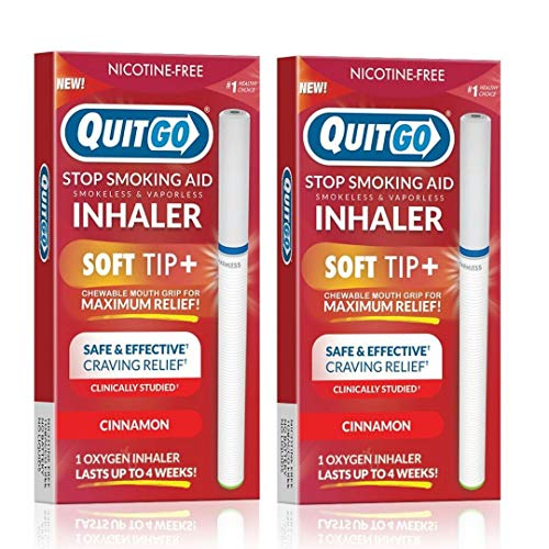 QuitGo Oral Fixation Support, Clinically Studied, Oxygen Inhaler to Stop Smoking, Includes Free How to Quit Smoking Step-by-Step Guide (2 Pack, Oxygen Inhaler)