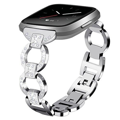 UKCOCO Correa de Acero Inoxidable para Fitbit Versa, Luxury Bling Diamond Pulseras de Reloj de Metal Mujeres Pulsera de Repuesto para Fitbit Versa (Plata)