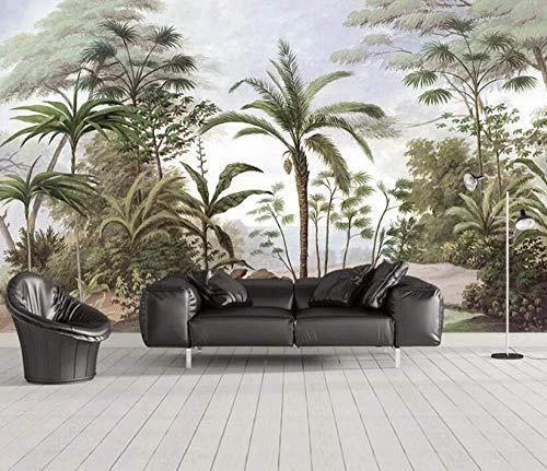 Carta da parati 3D Nordic Dipinte a mano Piccole piante tropicali fresche Soggiorno moderno Camera da letto Grande murale Decorazione murale-350cmx256cm Foto murale/poster/adesivo/poster/decor