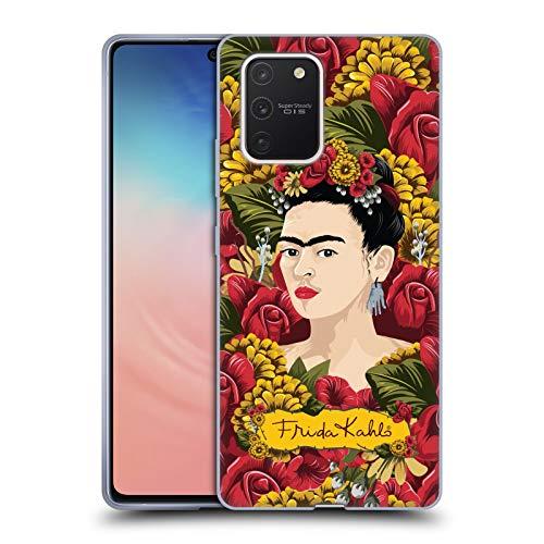 Head Case Designs Licenza Ufficiale Frida Kahlo Pattern Ritratto Floreale Rosso Cover in Morbido Gel Compatibile con Samsung Galaxy S10 Lite