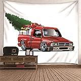KnBoB Tapiz Pared Decorativo Camión Rojo con Regalos de Árbol de Navidad 300 x 260 CM Tapiz Poliéster Anti Arruga Decoracion Habitacion