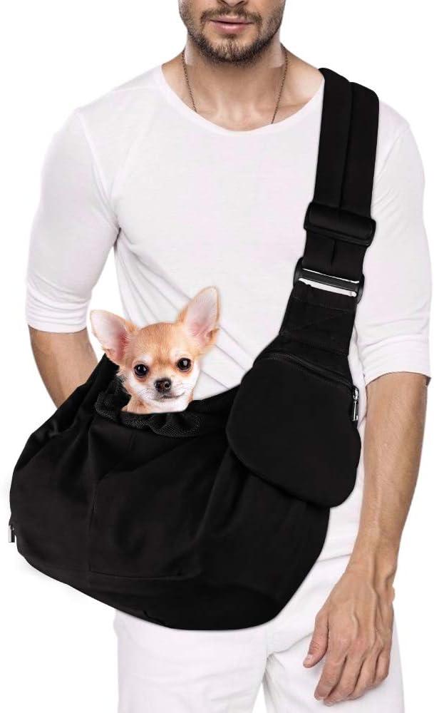 Nasjac Pet Sling Carrier, Dog Papoose Hand Free Cat Carry Bag con Correa de Hombro Acolchada Ajustable con Soporte Inferior Bolsa de Apertura con Cremallera Frontal Bolsillo con cinturón de Seguridad