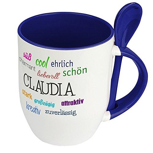 Löffeltasse mit Namen Claudia - Positive Eigenschaften von Claudia - Namenstasse, Kaffeebecher, Mug, Becher, Kaffeetasse - Farbe Blau