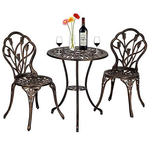 LOHOX 3 Piece Tulip Bistro Set of Table and Chairs European Style Cast Aluminum Outdoor - Bronze Table (23.6 x 23.6 x 26.6) Chair (16.1 x 19.9 x 33.1)
