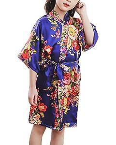 Niños Niñas Pijama Kimono Robe Bata Albornoces Peonía Flores Camisón Albornoz SPA Natación Cumpleaños Regalo Marina 12