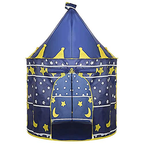 EDENCOMER Childrens Teepee Play Tent with Floor Mat, Easy Installation Yurt Style Moon Stars Pattern Kids Castle Play Tent for Indoor And Outdoor Games,Blue