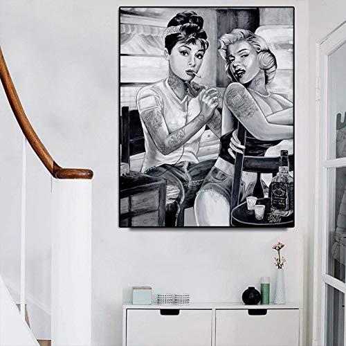 wZUN Retrato Lienzo Pintura en la Pared Tatuaje Mujer fumadora Cartel e impresión decoración de Imagen artística 60x80 Sin Marco