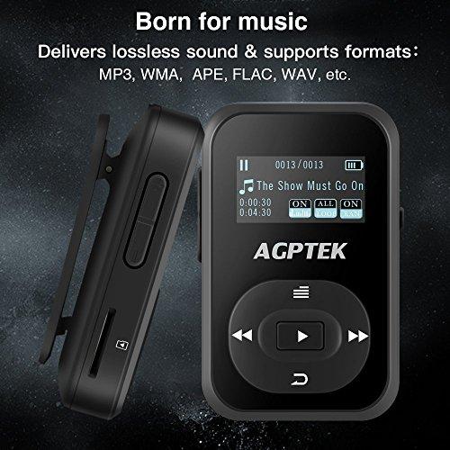 Reproductor MP3 con Bluetooth 4.0, AGPTEK 8 GB sin pérdida de sonido reproductor de música con radio FM grabadora de voz, soporte hasta 64 GB, funda de silicona resistente al sudor y brazalete para deporte, A26T negro