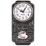 HERCHR Orologio da Parete Wall Clock Orologi da Cucina Orologi da Parete Grandi 30cm Rettangolare retrò con Stampa caffè Orologio Decorativo da Giardino