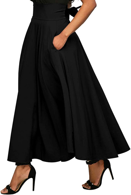 FSDFASS Skirt Summer Solid color High Waist Women Pleated Retro Maxi Skirt Fashion Office Streetwear Women Ruched Long Skirt