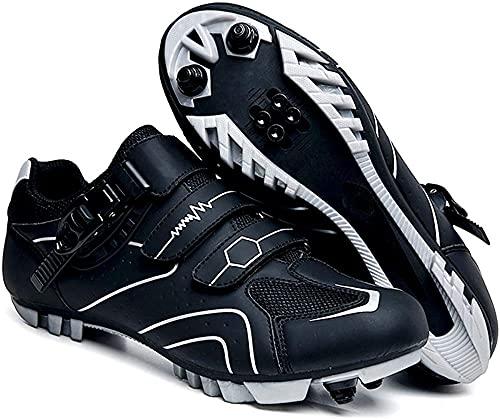 KUXUAN Zapatillas de Ciclismo MTB para Hombre Zapatillas de Bicicleta de Montaña SPD Zapatillas de Ciclismo Al Aire Libre Transpirables con Tacos SPD,Black-A-12UK=(280mm)=46EU