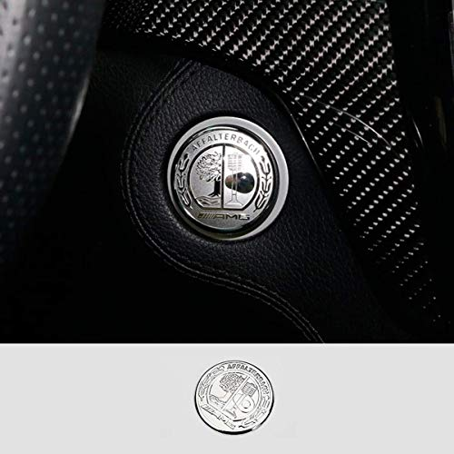 L&U AMG Interior Auto Start Motor Zündung Knopf Schlüssel Knöpfe Abziehbild-Aufkleber-Emblem Zubehör Silber für Mercedes Benz A B E GLK GLA CLA GLE ML GL-Klasse, 35mm,Silber