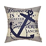 Fjfz Nautical Farmhouse Decorative Throw Pillow Cover Home is Wherever We Drop Our Anchor Quote Sign Summer Cruise Lover Decoration Home Decor Cotton Linen Cushion Case for Sofa Couch, 18' x 18'