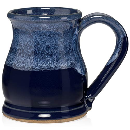 Uncommon Clay 20oz Potbelly Coffee Mug Handmade in the USA (Sapphire Blue/White)