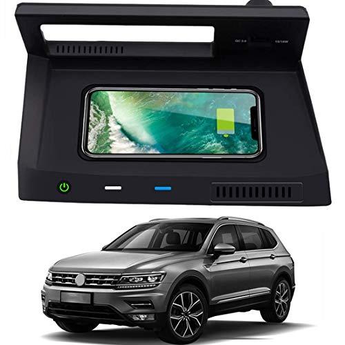 WEIFLY Cargador inalámbrico de automóviles, 10W Qi Pad Phone de Carga rápida con Puerto USB de QC 3.0, para VW TIGUAN 2018-2020 Panel de Accesorios de Consola Central, para iPhone Pro/Samsung