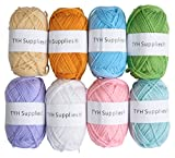 TYH Supplies 8 Skeins 70 Yard Acrylic Yarn Assorted Light Colors
