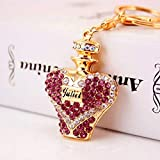 HZOLJVN Heart Perfume Bottle Keyring Rhinestone Crystal Charm Pendant Key Bag Chain Handbag Jewelry Keychain Christmas Mother's Day Gift Purple
