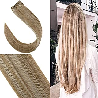 YoungSee 14inch Human Hair Weft Bundles Blonde Sew in Hair Extensions Straight Human Hair Weaves Honey Blonde Highlight with Platinum Blonde 100G