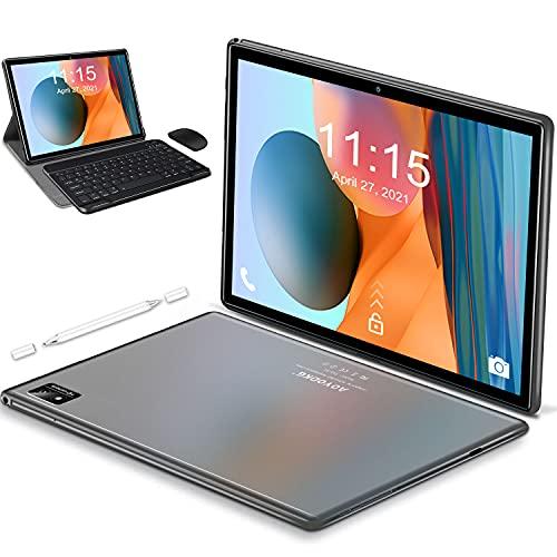 Tablet 10.1 Pollici Octa-Core Tablet PC,Android 10 con 4G LEL+ 5G WiFi ,6GB RAM + 128GB ROM,512GB Espandibili,Batteria 7000mAh,1280*800 IPS,Dual SIM,GPS,Type-C,Bluetooth- con Tastiera e Mouse (Grigio)