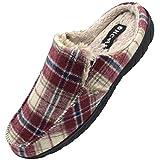ONCAI Zapatillas de Casa para Hombre-Tartán Pantuflas Hombre de Invierno Memory Foam-Antideslizante Tweed Mocasines Zuecos Pantufla de Hombre con Suave Vellón-Lana Hombre Zapatos Intemperie Rojo