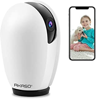 AKASO WiFi Camera 1080P, Works with Alexa/Google Assistant, Pet Camera Dog Camera, Indoor Home Security Camera Baby Monitor, Pan/Tilt Rotation, Motion/Sound Detection, 2 Way Audio, Night Vision, P30