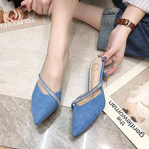 Yhjmdp Baotou Half Slippers Summer Outdoor Pointed Toe Stiletto Heels Rhinestone Sandals Lady Pumps Shoes,Blue,36