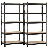 Yaheetech 5 Shelf Heavy Duty Shelving Unit Garage Metal Shelf Organizer Large Storage Shelves Adjustable Utility Commercial Grade Steel Shelf Rack, Black, 35.4 x 17.7 x 73.2in, Pack of 2