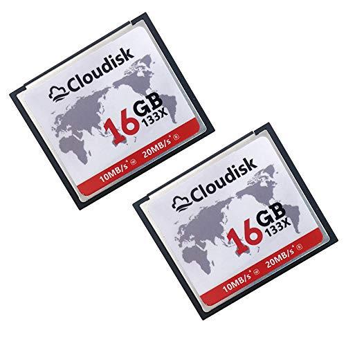 Cloudisk Tarjeta de memoria flash compacta CF Tarjeta de alta velocidad Lector de cámara para DSLR (16GB2PK)