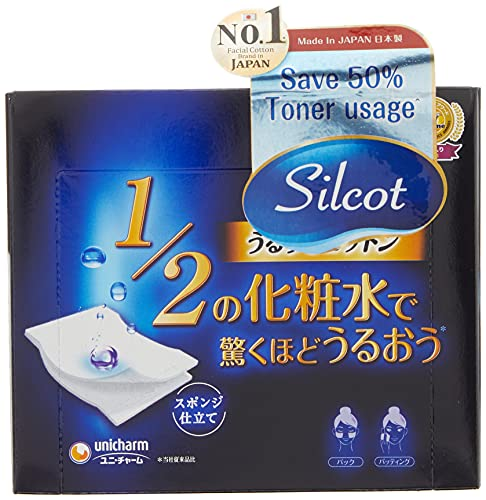 Unicharm Silcot Uruuru Sponge Facial Cotton 40 Sheets by Unicharm