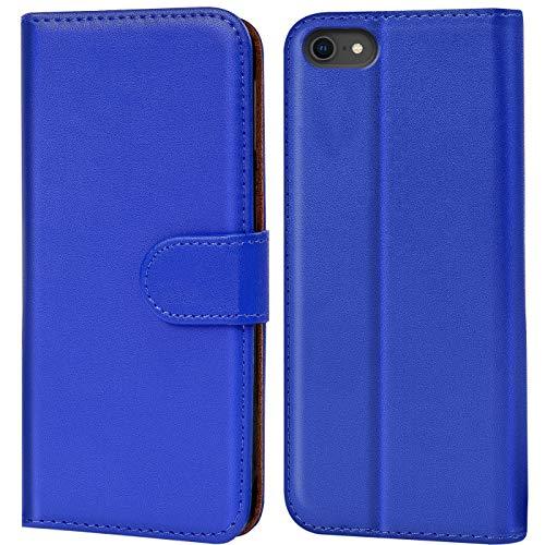 Verco iPhone 8 Hülle, Handyhülle für Apple iPhone 7, iPhone SE 2 (2020) Tasche PU Leder Flip Case Brieftasche - Blau