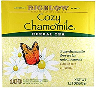 Bigelow Cozy Chamomile Herbal Tea, 100 Count Box Caffeine Free Herbal Tea