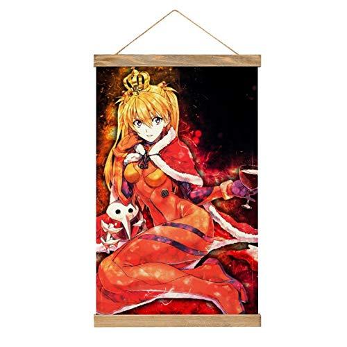 WPQL Lienzo de alta calidad para colgar un cuadro, neón Génesis Evangelion vertiendo vino rojo, mural de lienzo moderno, mural de póster, fácil de instalar - 33.1 x 50.4 cm