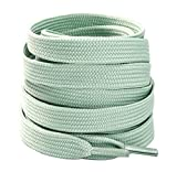 Thick Flat Shoe Laces Colored Strings for Sneakers Boots Sports Athletic Canvas Shoes 2 pairs Mint Green 55'