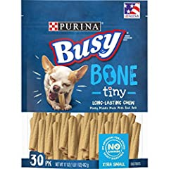 One (1) 30-Count Pouch - Purina Busy Made in USA Facilities Toy Breed Dog Bones; Extra Small Center made with real meat for a taste dogs crave 100% rawhide free No FD&C colors Easily digestible