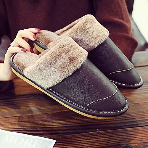 B/H Zapatillas de Hombre y Mujer de Felpa de algodón,Zapatillas abrigadas para...