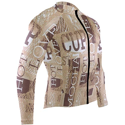 SLHFPX Coffee Bread Geometric Patchwork Striped Mens Cycling Jersey Shirts Long Sleeve Mountain Bicycle Apparel Outfit