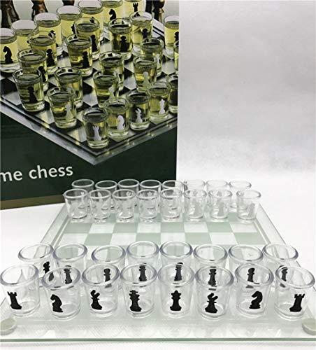 NANDAN Schachspiel, Erwachsene Kinder High-End-Kristallweinglas Schach Party Puzzle Trinkspiele Party-Spaß-Spiel-Geschenk (Large 35 x 35 cm)